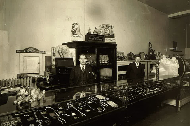 Aaron Dolgin inside his diamond shop