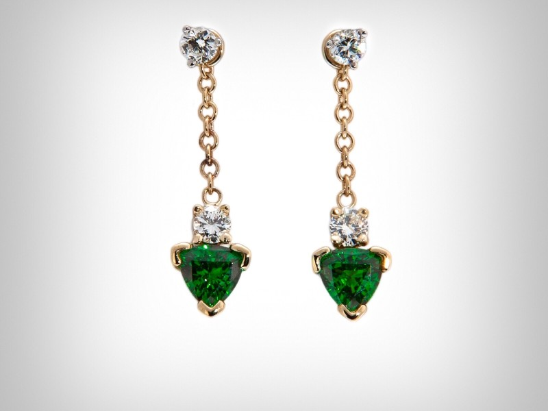 Tsavorite Garnet and Diamond Drop Design Earrings