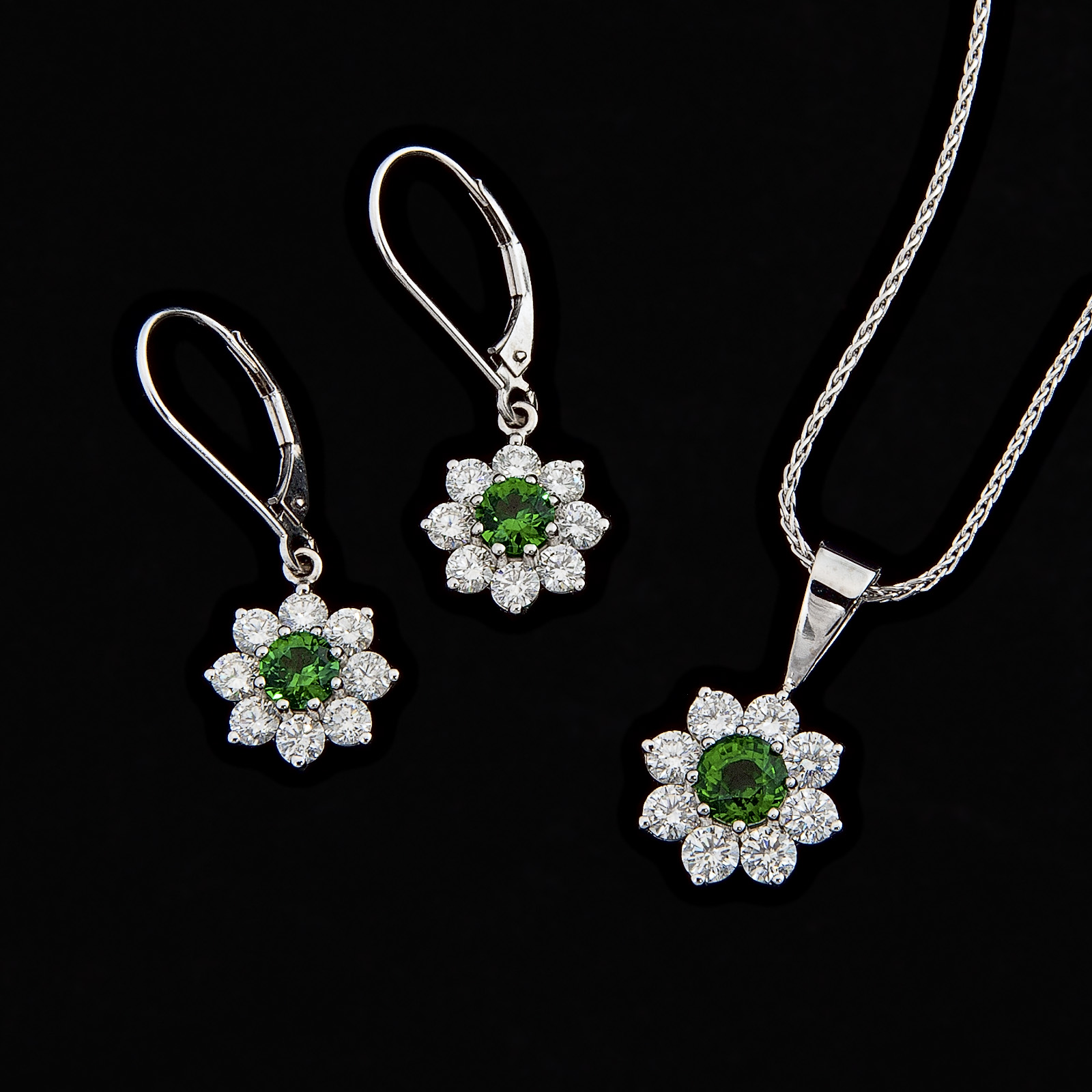 Tsavorite garnet earrings and necklace h lebow diamond brokers tsavorite garnet earrings and necklace aloadofball